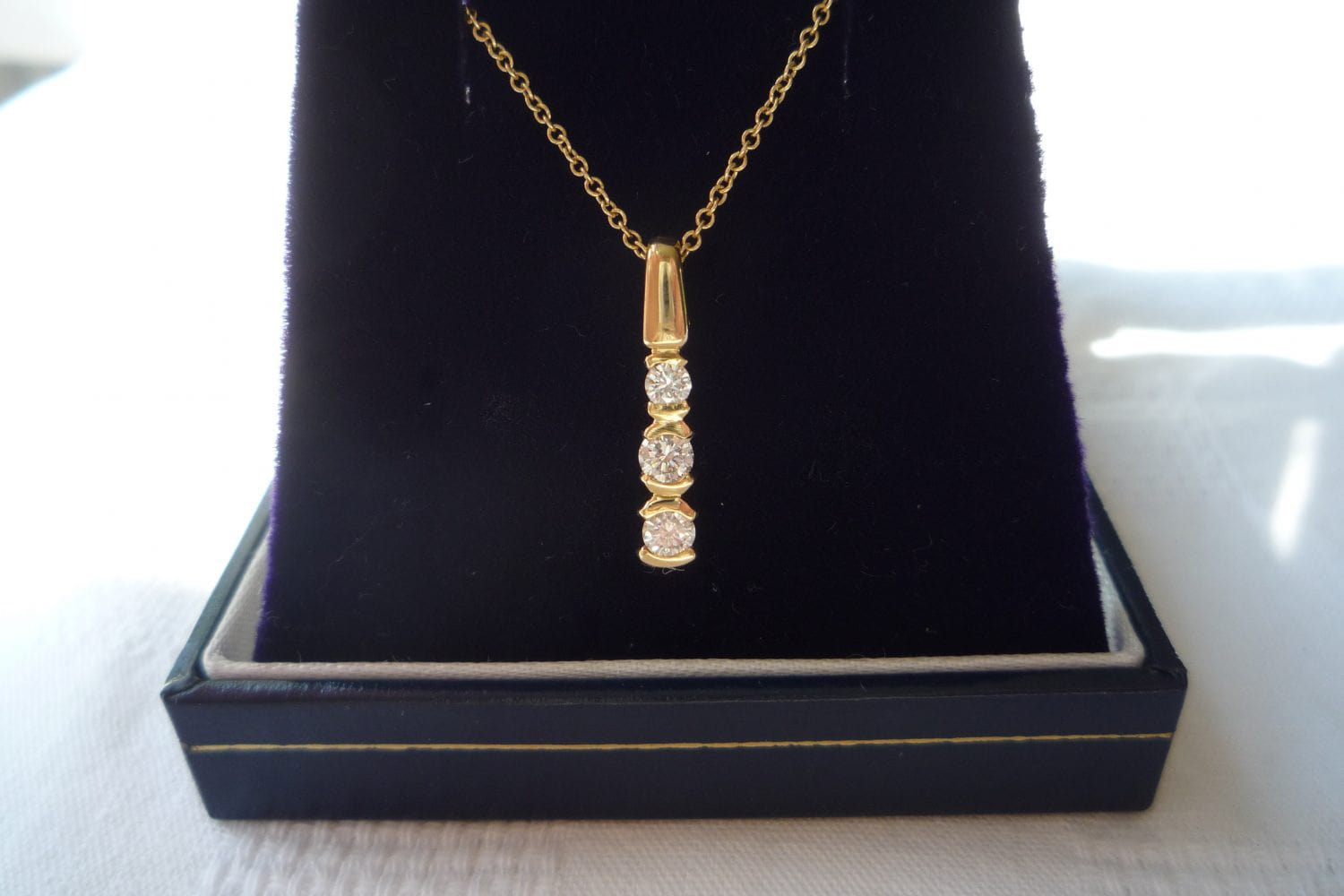 Yellow gold diamond trilogy pendant precious find yellow gold diamond trilogy pendant audiocablefo